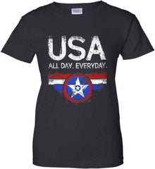 USA All Day Everyday. Women's: Gildan Ladies' 100% Cotton T-Shirt.