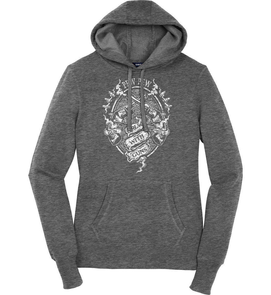 Pew Pew. Girls with Guns. Gun Chick. Women's: Sport-Tek Ladies Pullover Hooded Sweatshirt.-5