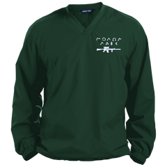 Molon Labe with Rifle. White. Sport-Tek Pullover V-Neck Windshirt. (Embroidered)