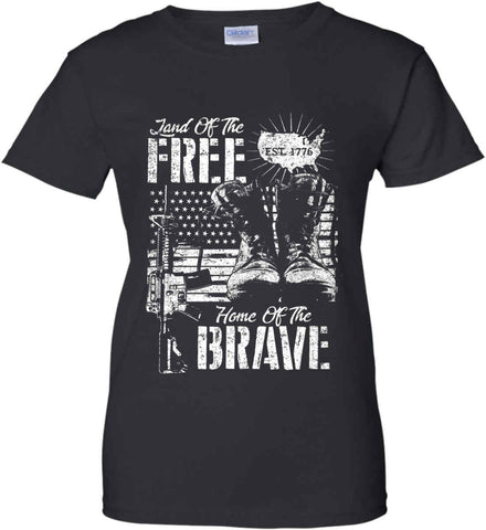 Land Of The Free. Home Of The Brave. 1776. White Print. Women's: Gildan Ladies' 100% Cotton T-Shirt.
