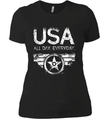 USA All Day Everyday. White Print. Women's: Next Level Ladies' Boyfriend (Girly) T-Shirt.