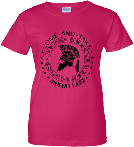 Come And Take - Molon Labe Spartan Second Amendment. Black Print. Women's: Gildan Ladies' 100% Cotton T-Shirt.