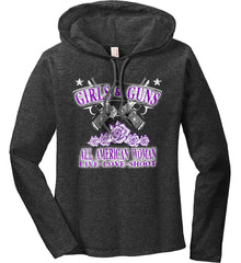 Girls and Guns. All American Woman. Live Love Shoot. Purple Print. Women's: Anvil Ladies' Long Sleeve T-Shirt Hoodie.