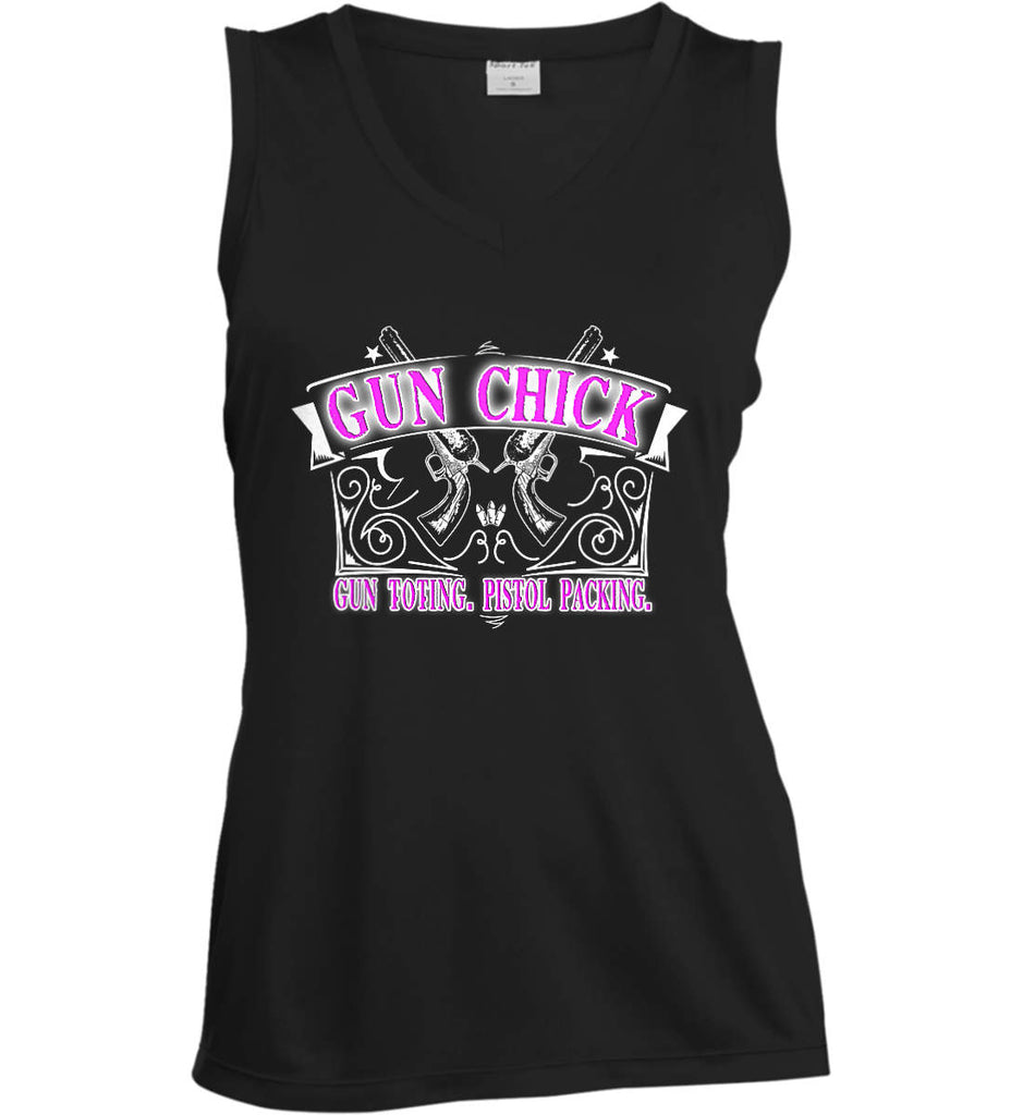 Gun Chick. Gun Toting. Pistol Packing. Pink Print. Women's: Sport-Tek Ladies' Sleeveless Moisture Absorbing V-Neck.-1