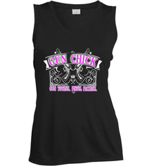 Gun Chick. Gun Toting. Pistol Packing. Pink Print. Women's: Sport-Tek Ladies' Sleeveless Moisture Absorbing V-Neck.