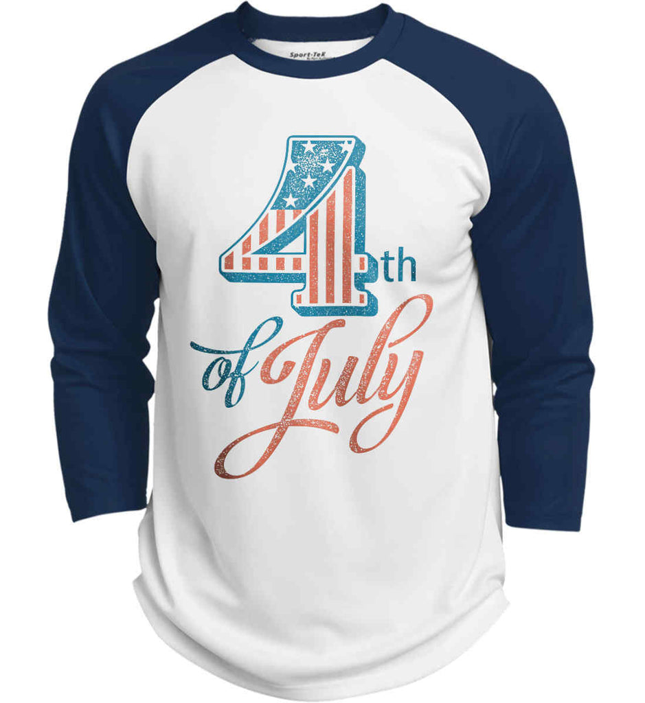 4th of July. Faded Grunge. Sport-Tek Polyester Game Baseball Jersey.-6