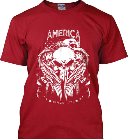 America. Punisher Skull and Bones. Since 1776. White Print. Gildan Tall Ultra Cotton T-Shirt.