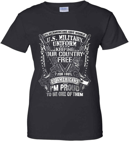 7% of Americans Have Worn a Military Uniform. I am proud to be one of them. White Print. Women's: Gildan Ladies' 100% Cotton T-Shirt.