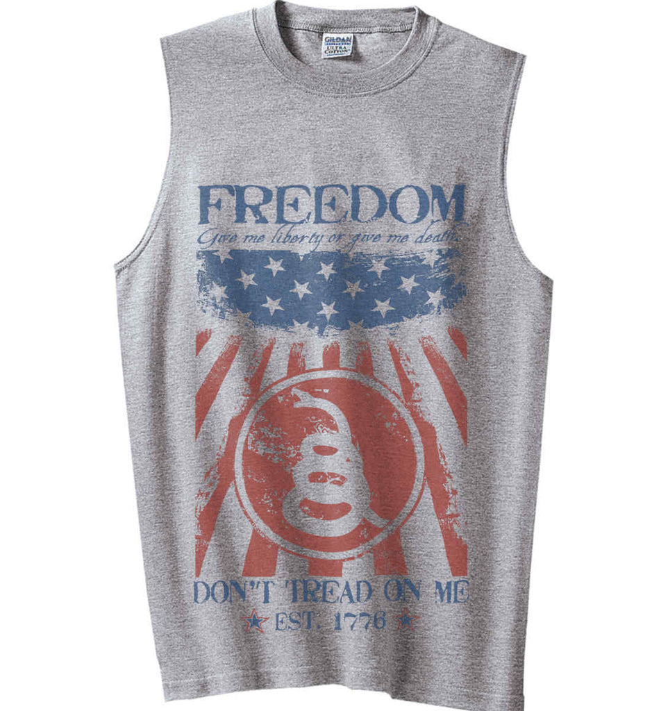 Freedom. Give me liberty or give me death. Gildan Men's Ultra Cotton Sleeveless T-Shirt.-2