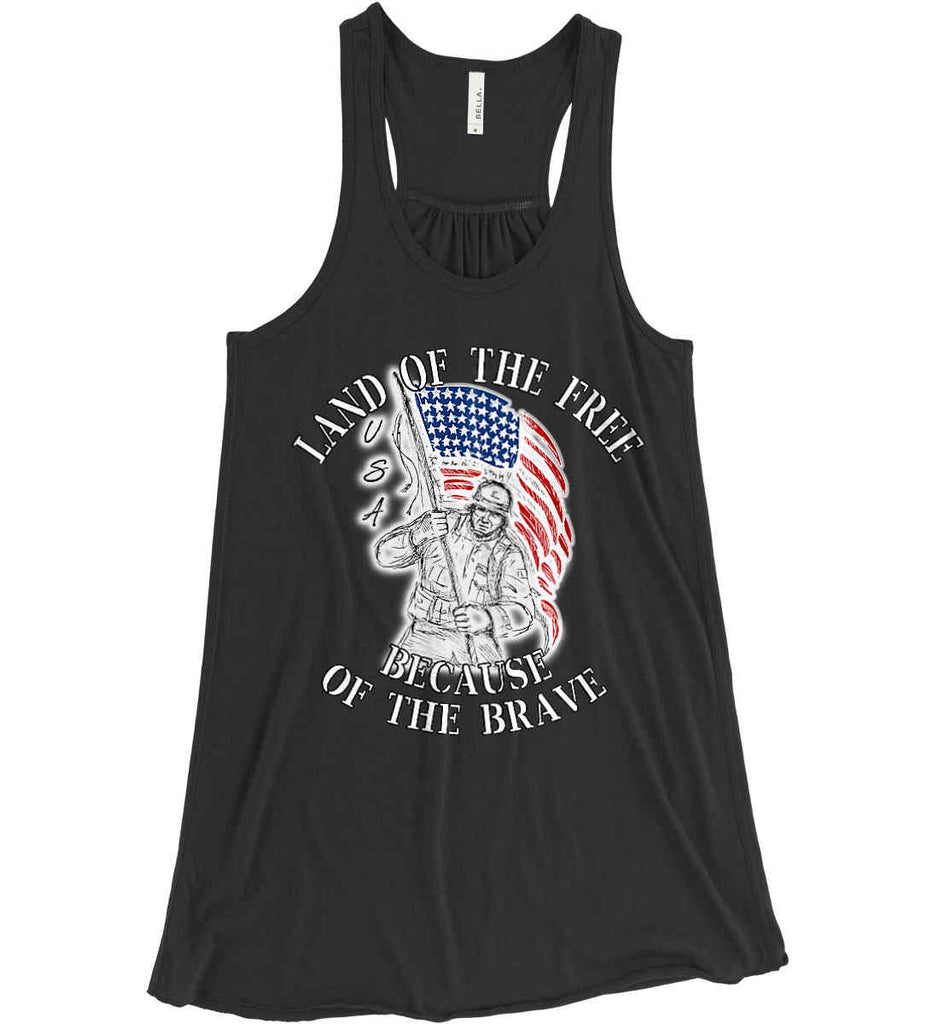 Land of the Free Because of The Brave. Women's: Bella + Canvas Flowy Racerback Tank.-1