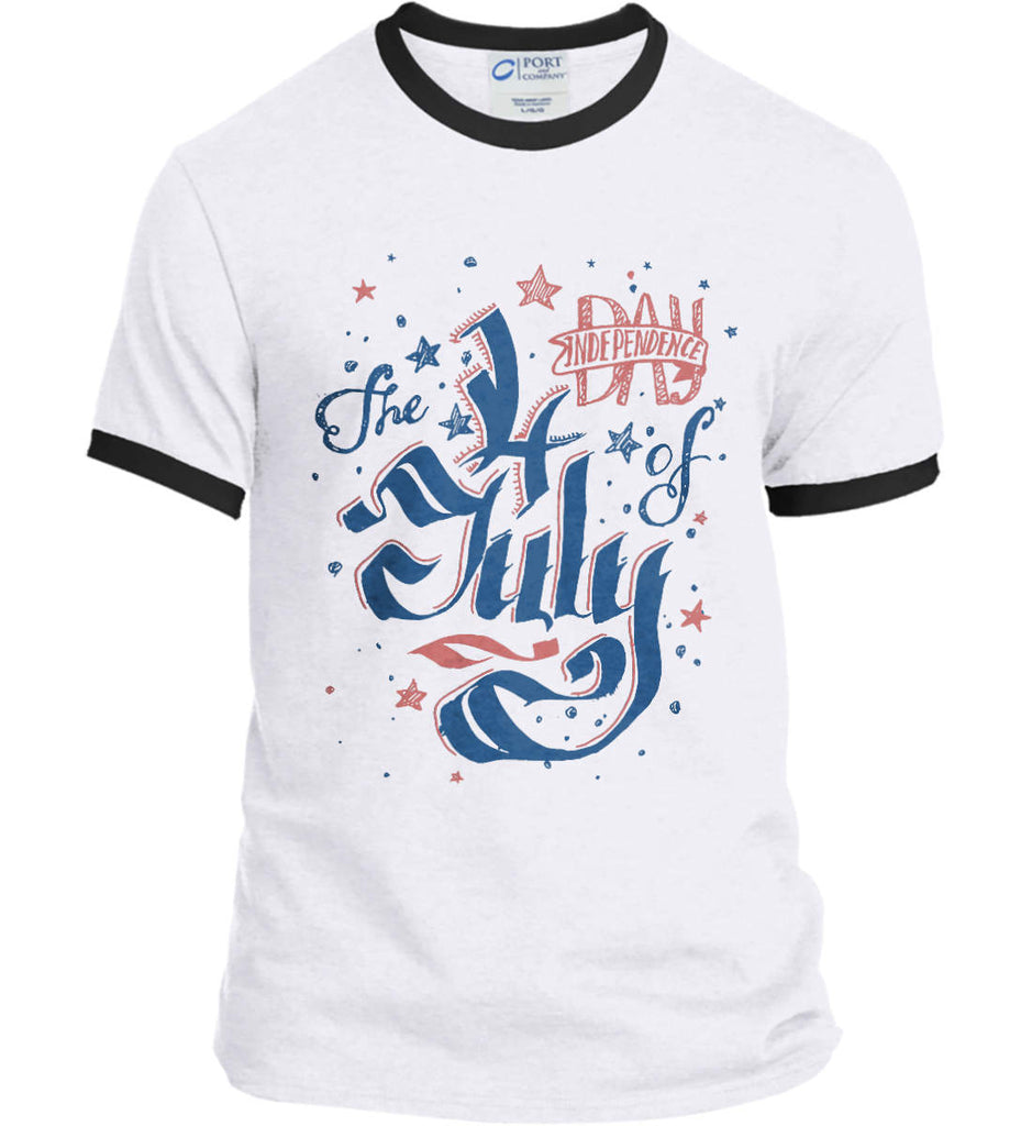 The 4th of July. Ribbon Script. Port and Company Ringer Tee.-2
