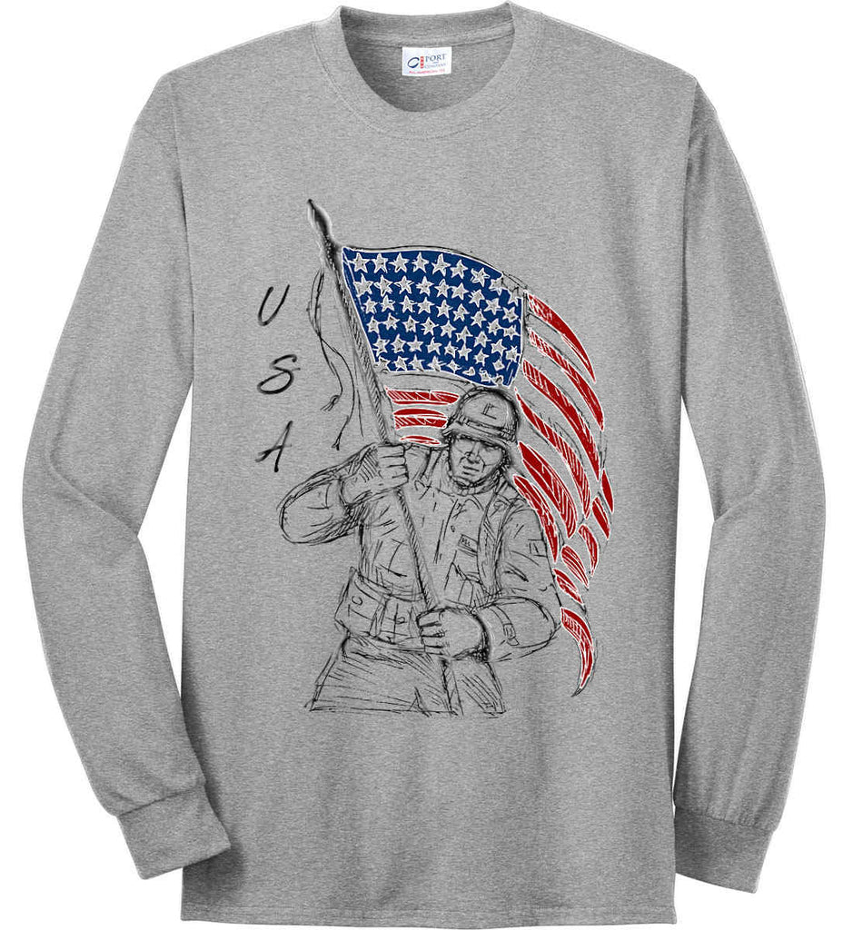 Soldier Flag Design. Black Print. Port & Co. Long Sleeve Shirt. Made in the USA..-2