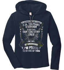 7% of Americans Have Worn a Military Uniform. I am proud to be one of them. Women's: Anvil Ladies' Long Sleeve T-Shirt Hoodie.