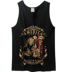 America A Nation of Heroes. Kneeling Soldier. Gildan 100% Cotton Tank Top.