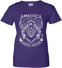 America. Great Again. White Print. Women's: Gildan Ladies' 100% Cotton T-Shirt.