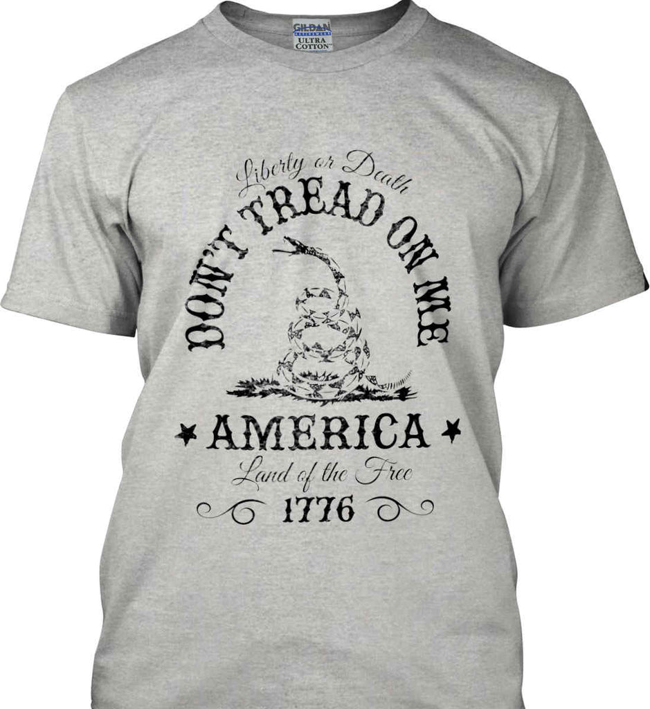 Don't Tread on Me. Liberty or Death. Land of the Free. Black Print. Gildan Ultra Cotton T-Shirt.-4