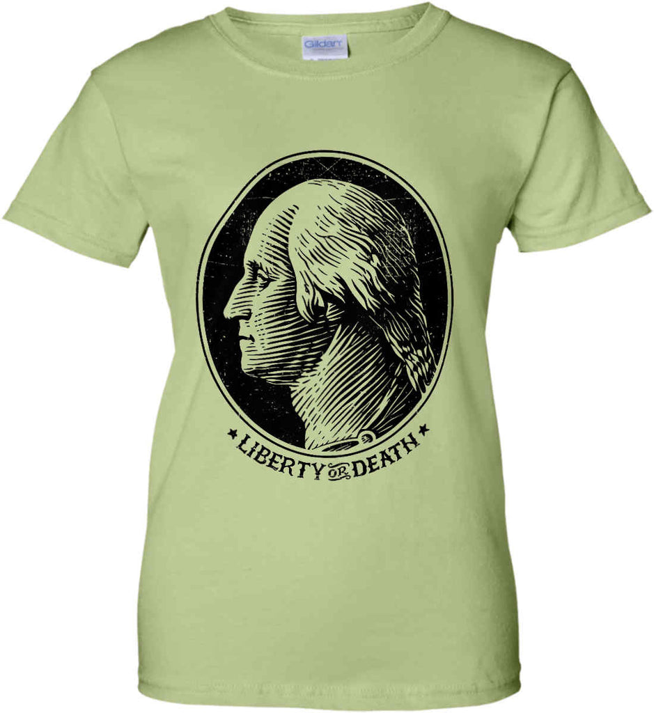 George Washington Liberty or Death. Black Print Women's: Gildan Ladies' 100% Cotton T-Shirt.-11