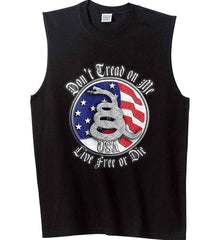 Don't Tread on Me: Red, White and Blue. Live Free or Die. Gildan Men's Ultra Cotton Sleeveless T-Shirt.