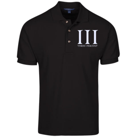 Three Percent Symbol with Text. White. Port Authority Cotton Pique Knit Polo. (Embroidered)