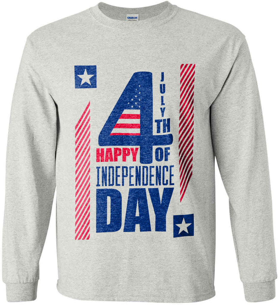 4th of July with Stars and Stripes. Gildan Ultra Cotton Long Sleeve Shirt.-2