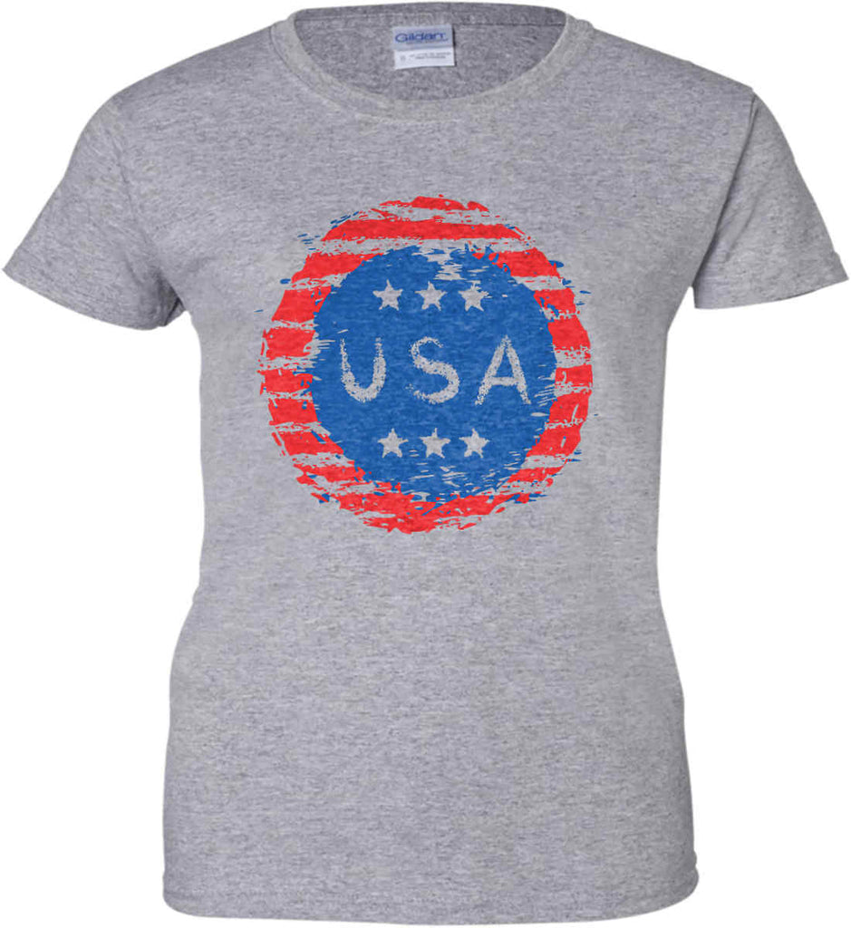 Grungy USA. Women's: Gildan Ladies' 100% Cotton T-Shirt.-1