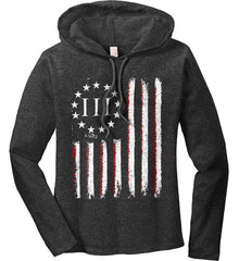 Three Percent on American Flag. Women's: Anvil Ladies' Long Sleeve T-Shirt Hoodie.