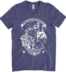 Airborne Division. United States. White Print. Anvil Men's Printed V-Neck T-Shirt.