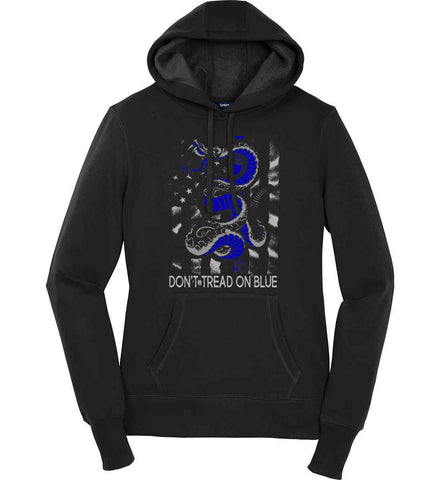 Don't Tread on Blue. Pro-Police. Women's: Sport-Tek Ladies Pullover Hooded Sweatshirt.
