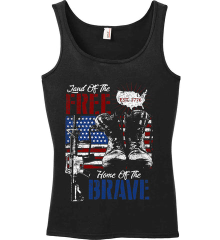 Land Of The Free. Home Of The Brave. 1776. Women's: Anvil Ladies' 100% Ringspun Cotton Tank Top.