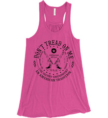 Don't Tread on Me: The Second Amendment: An American Tradition. Black Print. Women's: Bella + Canvas Flowy Racerback Tank.
