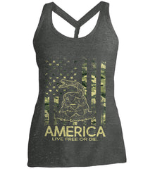 America. Live Free or Die. Don't Tread on Me. Camo. Women's: District Made Ladies Cosmic Twist Back Tank.