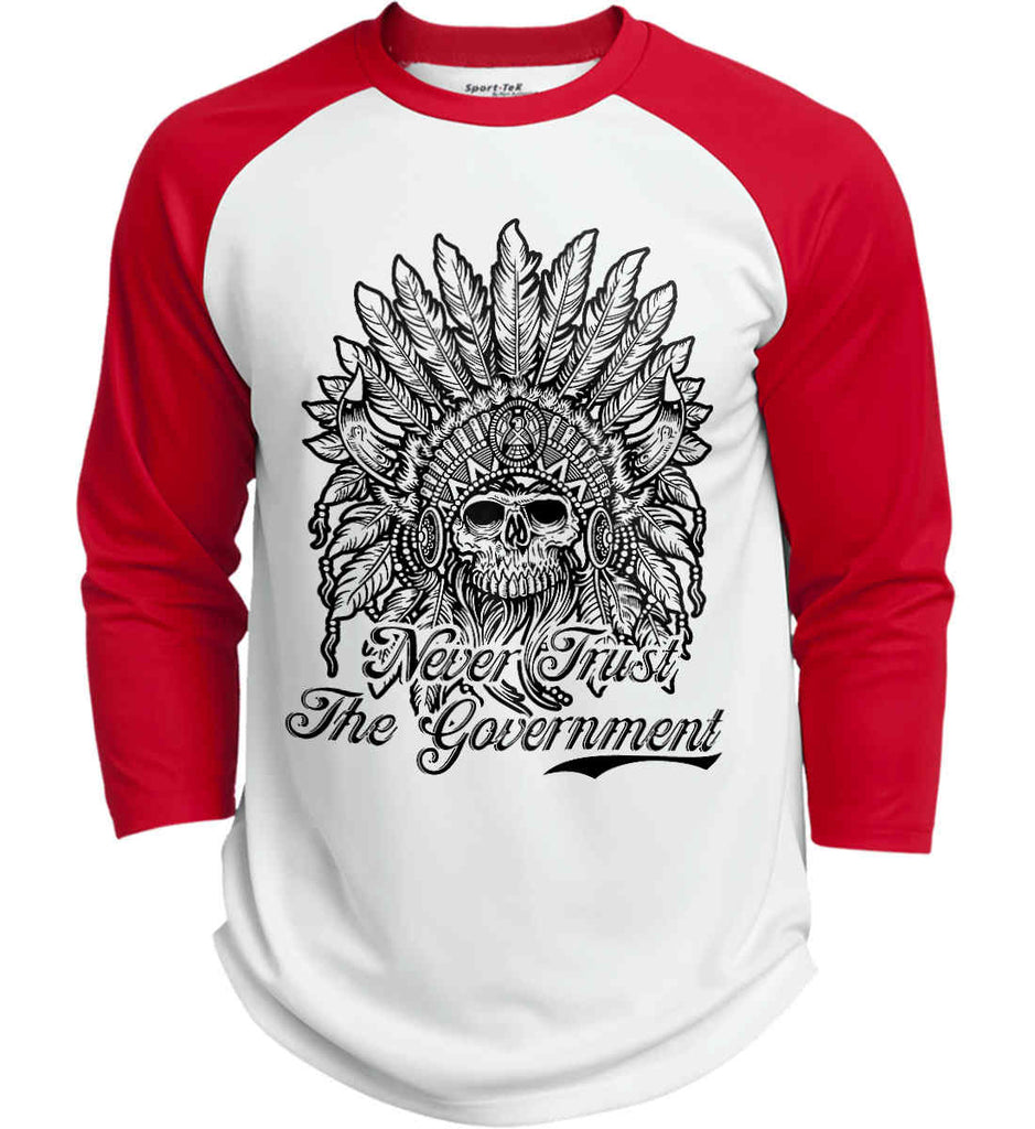 Skeleton Indian. Never Trust the Government. Sport-Tek Polyester Game Baseball Jersey.-6