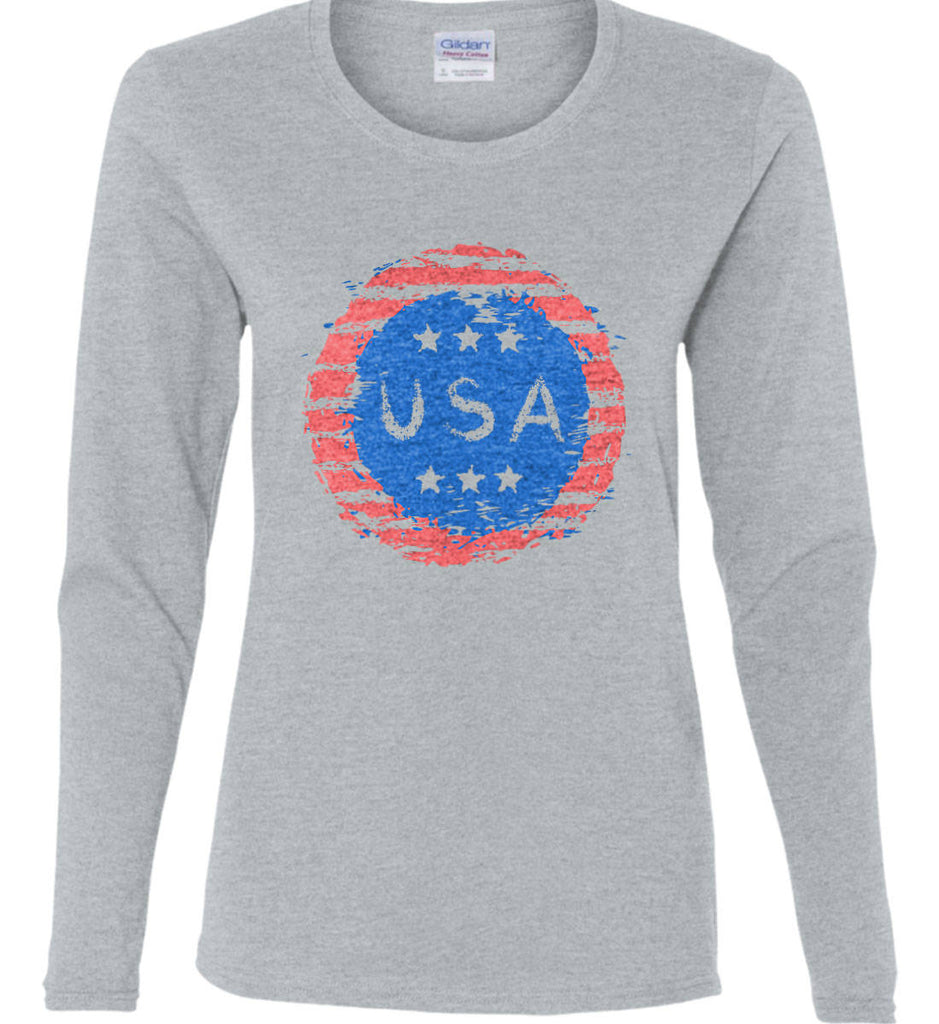 Grungy USA. Women's: Gildan Ladies Cotton Long Sleeve Shirt.-2