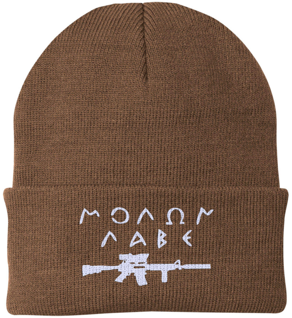 Molon Labe Rifle Hat. Port Authority Knit Cap. (Embroidered)-11