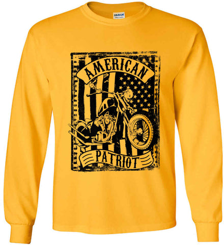 American Patriot - Flag/Rider. Black Print. Gildan Ultra Cotton Long Sleeve Shirt.