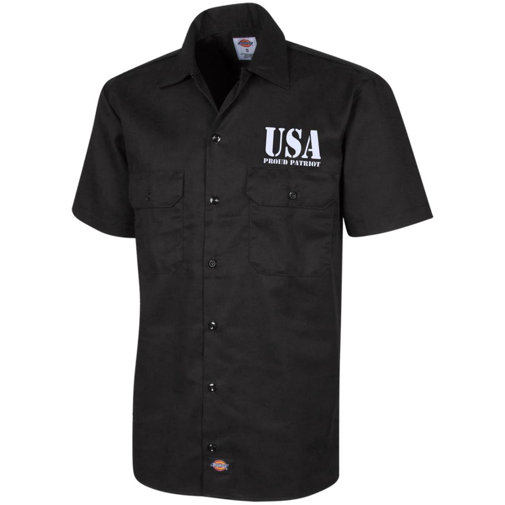 USA. Proud Patriot. Dickies Men's Short Sleeve Workshirt. (Embroidered)-2