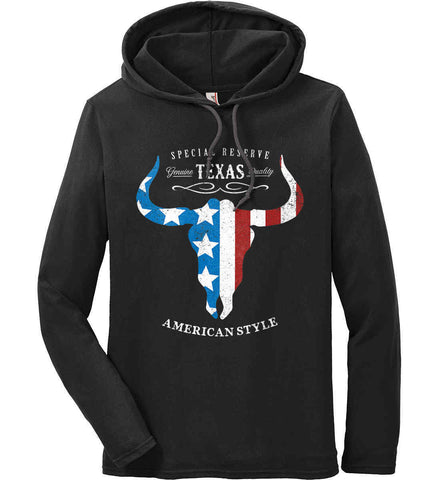 Special Reserve. Texas Quality. Anvil Long Sleeve T-Shirt Hoodie.
