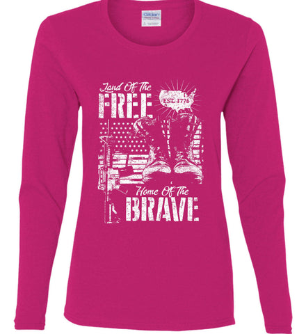 Land Of The Free. Home Of The Brave. 1776. White Print. Women's: Gildan Ladies Cotton Long Sleeve Shirt.