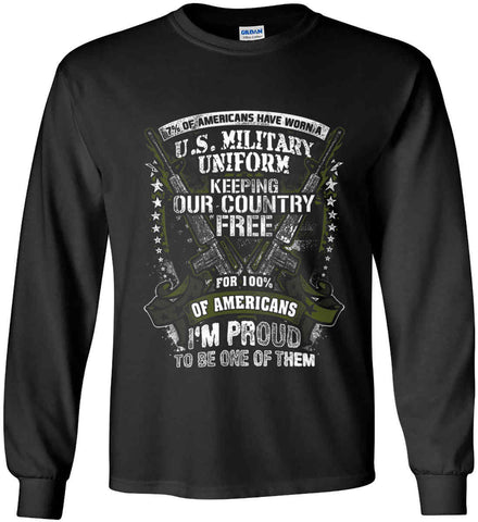 7% of Americans Have Worn a Military Uniform. I am proud to be one of them. Gildan Ultra Cotton Long Sleeve Shirt.