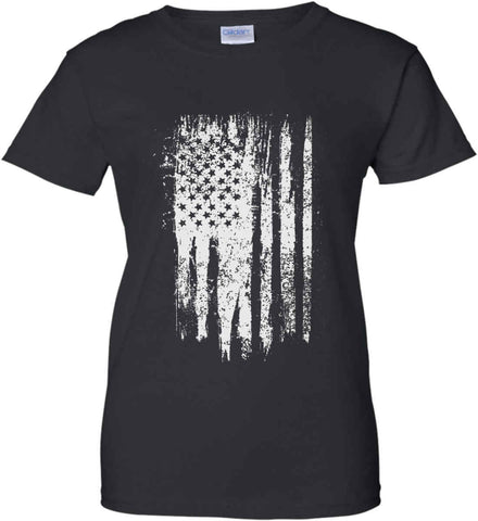 Grungy Grey USA Flag Women's: Gildan Ladies' 100% Cotton T-Shirt.