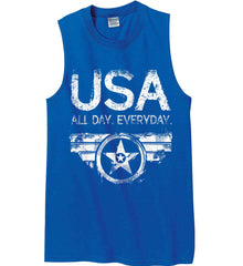 USA All Day Everyday. White Print. Gildan Men's Ultra Cotton Sleeveless T-Shirt.