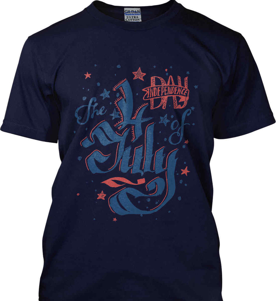 The 4th of July. Ribbon Script. Gildan Tall Ultra Cotton T-Shirt.-4