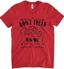 Don't Tread on Me. Snake. Sons of Liberty. Black Print. Anvil Men's Printed V-Neck T-Shirt.