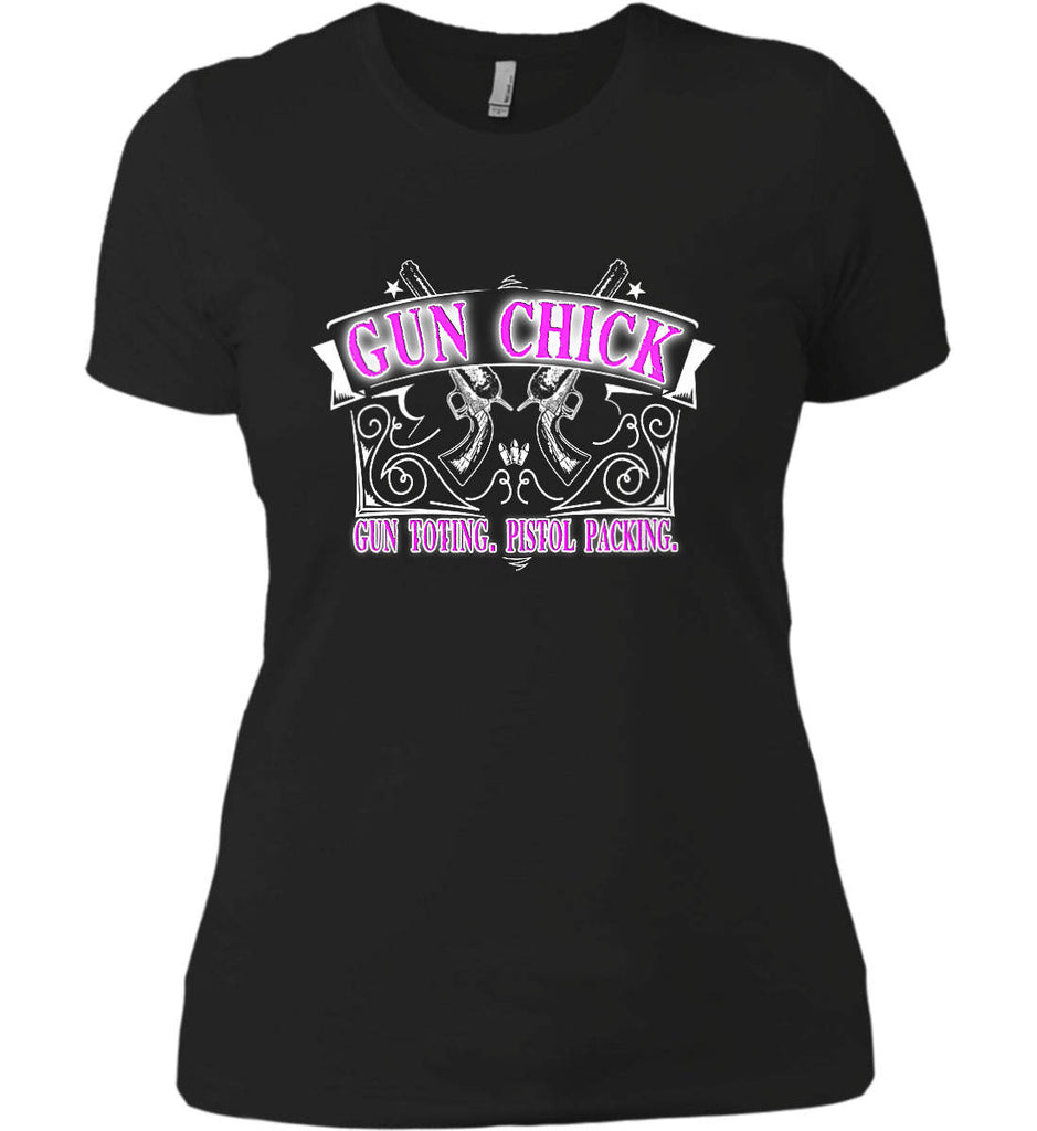 Gun Chick. Gun Toting. Pistol Packing. Pink Print. Women's: Next Level Ladies' Boyfriend (Girly) T-Shirt.-1