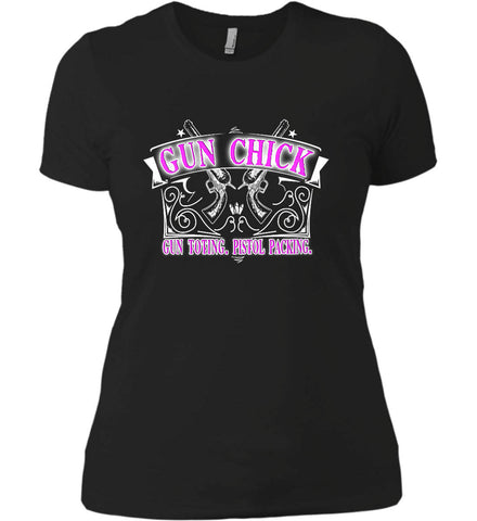 Gun Chick. Gun Toting. Pistol Packing. Pink Print. Women's: Next Level Ladies' Boyfriend (Girly) T-Shirt.