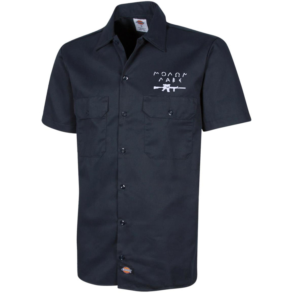 Molon Labe with Rifle. White. Dickies Men's Short Sleeve Workshirt. (Embroidered)-3