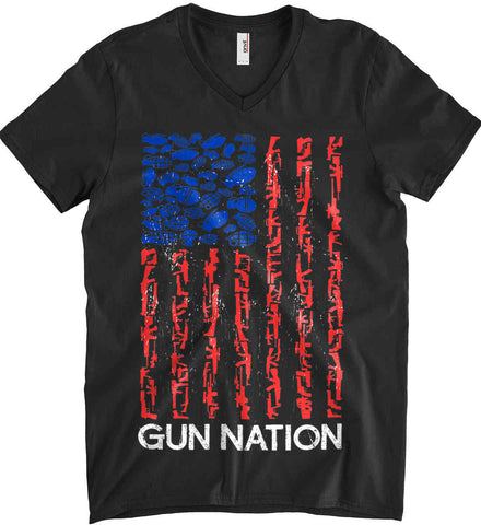 Gun Nation. Anvil Men's Printed V-Neck T-Shirt.
