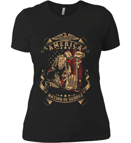 America A Nation of Heroes. Kneeling Soldier. Women's: Next Level Ladies' Boyfriend (Girly) T-Shirt.