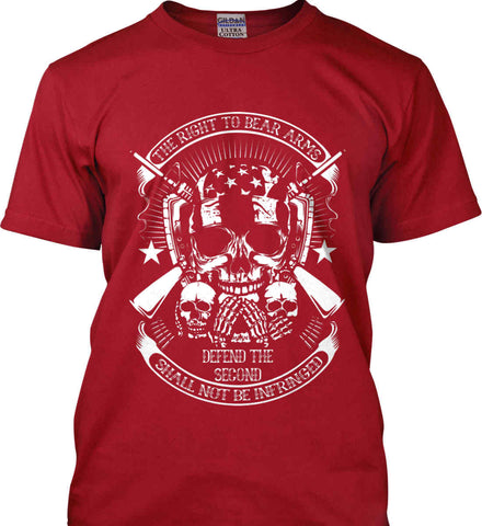 The Right to Bear Arms. Shall Not Be Infringed. Since 1791. White Print. Gildan Ultra Cotton T-Shirt.