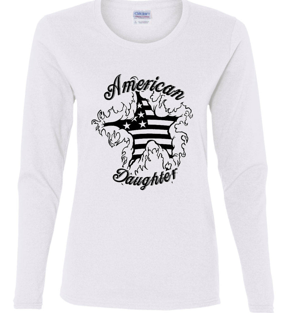 American Daughter. Women's Patriot Design. Women's: Gildan Ladies Cotton Long Sleeve Shirt.-3